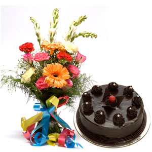mix flowers with chocolate cake basket
