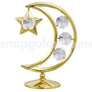 moon and star gold plated with swarovski crystals