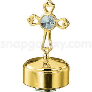 musical base with cross gold plated with swarovski crystals