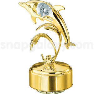 musical base with dolphin single gold plated with swarovski crystals