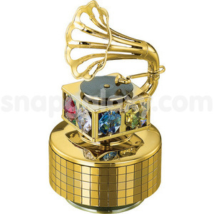 musical base with gramophone gold plated with swarovski crystals