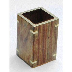 pen holder brass inlay sheesham wood gift