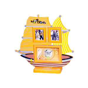photo frame clock yellow ship shape