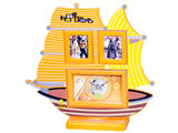 Photo Frame with Clock in Ship Shape, Yellow