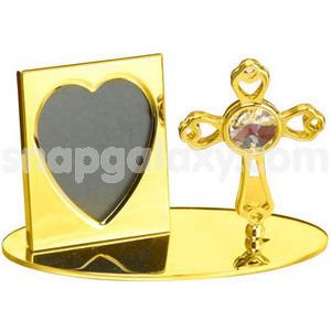 photo frame with cross gold plated with swarovski crystals