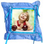 photo pillow button square blue