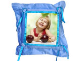 Customized Blue Button Pillow Cover with Pillow