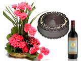 Delightful Basket, Carnations & Wine