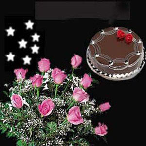 pink roses 12 green fillers cake midnight delivery