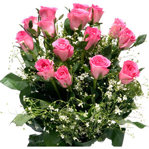 pink roses bunch deluxe all the frills