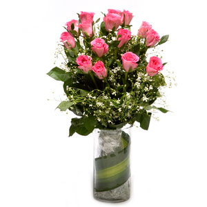 pink roses in glass vase pink passion