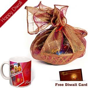 premium chocolates in a tokri with diwali wishes mug