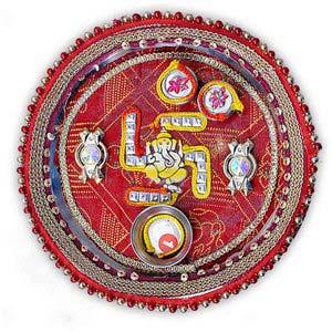 rakhi sg beads rahki thali with ganesha and swastik 22231