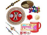 Colorful Peacock and Chandan Rakhi Set Gift Hamper