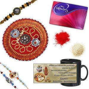 rakhi sg colorful peacock and chandan rakhi set 27071