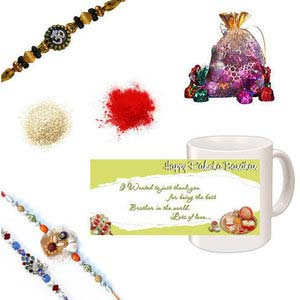 rakhi sg colorful peacock and chandan rakhi set 27092