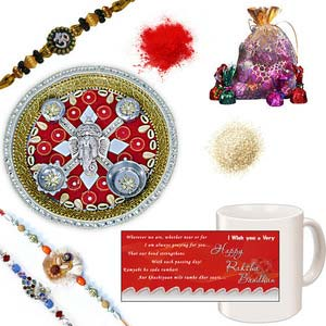 rakhi sg colorful peacock and chandan rakhi set 27136