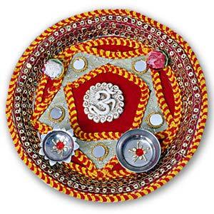 rakhi sg designer om rakhi thali 22226
