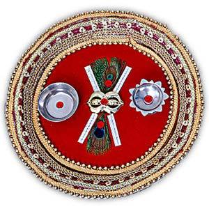 rakhi sg designer peacock feather rakhi thali 22223