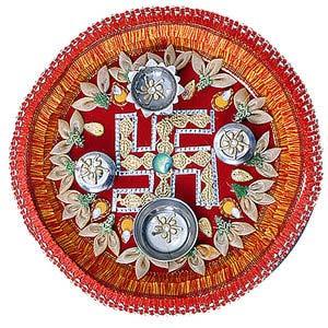 rakhi sg designer swastik rakhi thali 22227