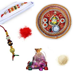 rakhi sg diamond and beads rakhi in premium box with lumba for bhabhi 27159