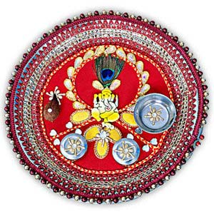 rakhi sg ganesha rakhi thali with peacock feather 22232