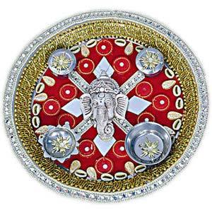 rakhi sg ganesha rakhi thalki with sea shells 22233