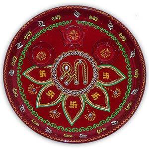 rakhi sg shree hand painted rakhi thali 22237