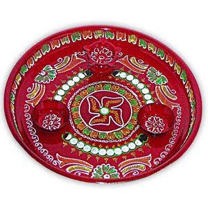 rakhi sg swastik hand painted rakhi thali 22235