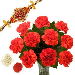 rakshabandhan carnation with rakhi rxp58