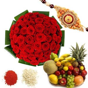 rakshabandhan fresh fruits and roses rxp47