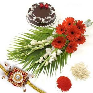 rakshabandhan gerberas with cake rxp5