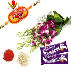 rakshabandhan orchids with chocolates rxp11
