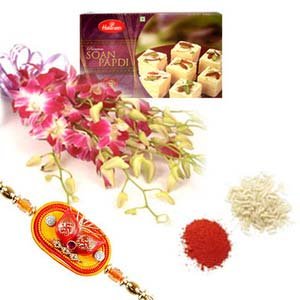 rakshabandhan orchids with sweets rxp15
