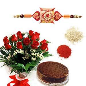 rakshabandhan rakhi cake and roses rxp39