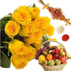 rakshabandhan rakhi fruits and roses rxp48