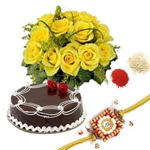 rakshabandhan rakhi roses with cake rxp34