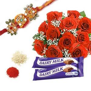 rakshabandhan rakhi with roses rxp12