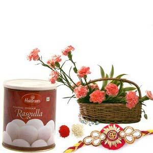 rakshabandhan rasgulla with carnations rxp63