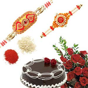 rakshabandhan red roses and cake rxp36