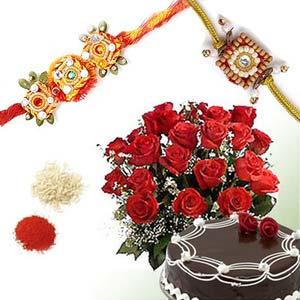 rakshabandhan roses and chocolate cake rxp19