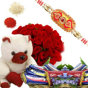 rakshabandhan roses with chocolate basket rxp20