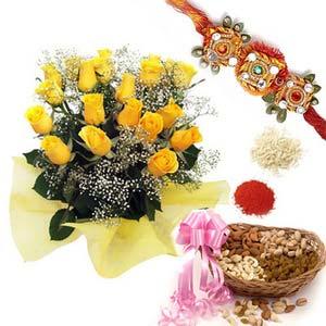 rakshabandhan roses with dryfruits rxp26