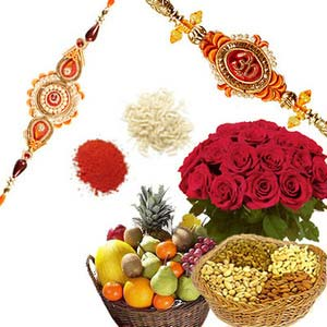 rakshabandhan roses with fruits rxp2