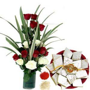 rakshabandhan roses with kaju katli rxp66