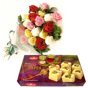 rakshabandhan roses with soan papdi rxp64