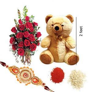 rakshabandhan teddy bear with roses rxp35