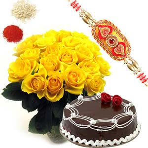 rakshabandhan yellow roses with cake rxp25