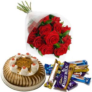 red roses with cake chocolate happiness bouquet midnight