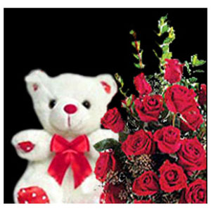 red roses with teddy midnight delivery berry wishes